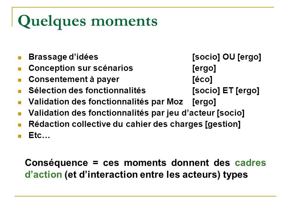 Quelques moments Brassage d'idées [socio] OU [ergo] Conception sur scénarios [ergo] Consentement à payer [éco]